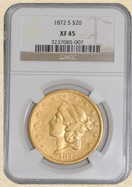 1N: 1872-S $20 Liberty XF45 NGC