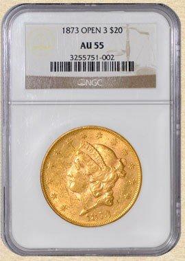 2N: 1873 $20 Liberty AU55 NGC Open 3