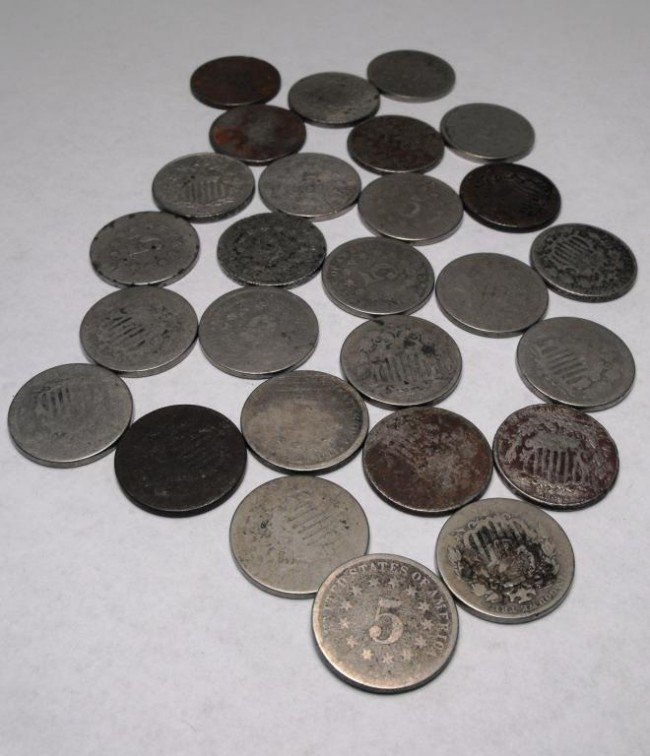 3A: Lot of 27 Shield Nickels - Circulated