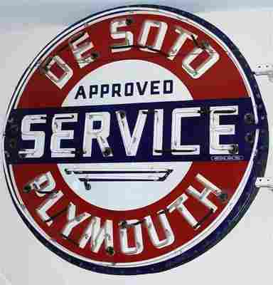 Desoto Plymouth Approved Service Ssp Sign NEON