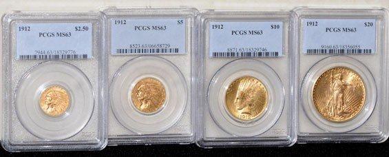2C: 1912 $2.5, $5, $10, $20 Gold MS63 PCGS 4-Piece Set
