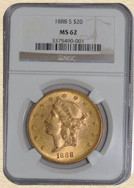 3C: 1888-S $20 Liberty Gold Coin MS62 NGC
