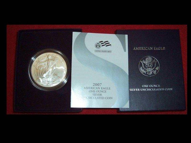 1Y: 2007 Burnished Silver Eagle in Box