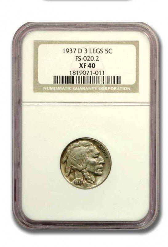1: Key Date-3-Legged Buffalo Nickel-1937D -