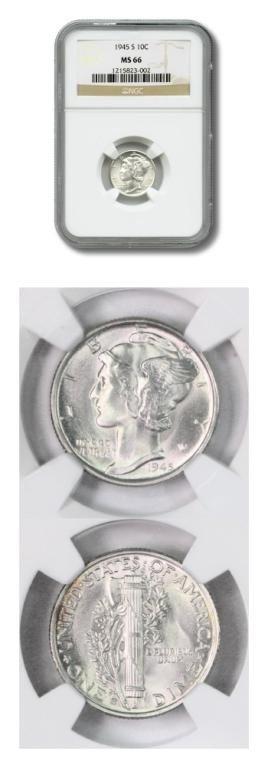 3: Stunning Mercury Dime -10¢-1945S-NGC-MS66