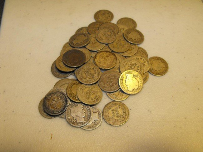5S: Lot of (50) Barber Dimes - Circulated
