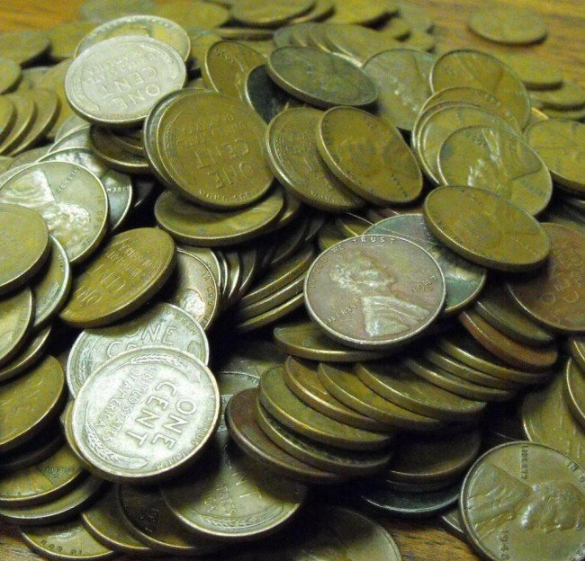 9S: Lot of (500) Wheat Back Lincoln Cents