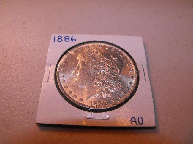 4A: 1886 P AU Morgan Silver Dollar
