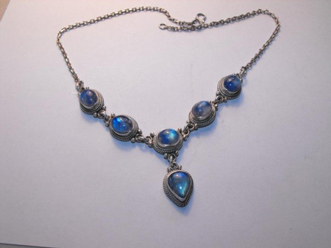 2Z: Moonstone and Sterling Necklace