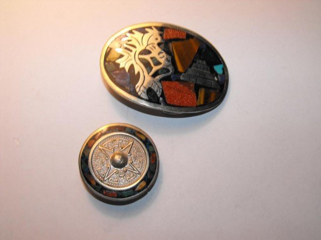 3Z: Silver Belt Buckle and Bolo Tie Slide - Mexican