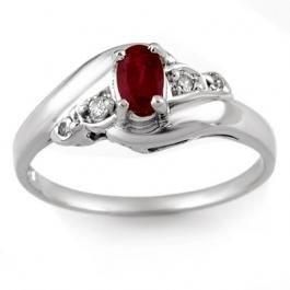 4: Genuine 0.49 ctw Ruby & Diamond Ring 10K White