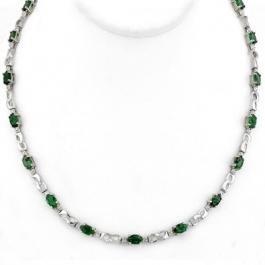 116: Genuine 7.02 ctw Emerald & Diamond Necklace White