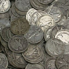 4A: Lot of 100 Walking Liberty Half Dollars-