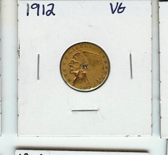 3B: 1912 $ 2.5 Gold Indian Coin