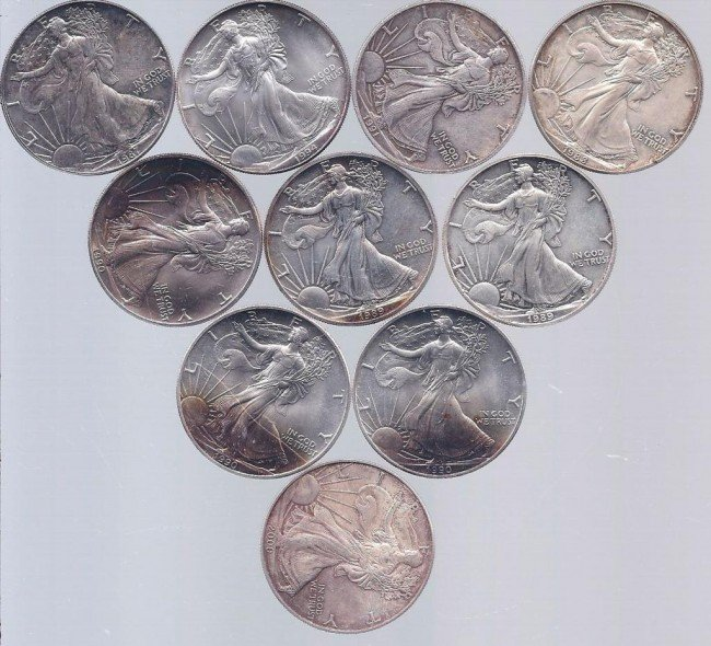 9: (10) Assorted Date Silver Eagles
