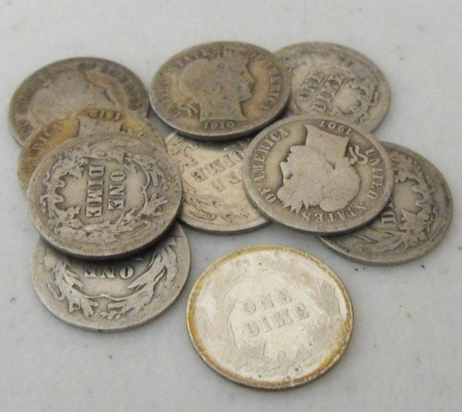 3S: Lot of 10 Barber Half Dollars