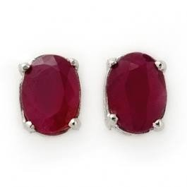 2V: 1.50 ctw Ruby Stud Earrings 14K