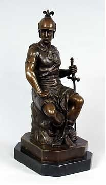1A: Solid Bronze Hand Chased Soldier Sculpture
