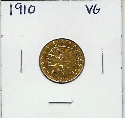 2B: 1910 $ 2.5 Gold Indian Coin