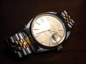 1Q: Authentic Two Tone Rolez Date Just Man's Watch