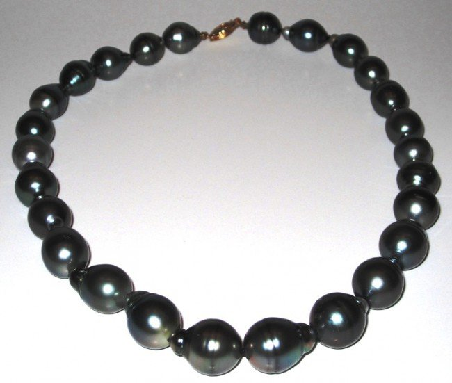 1G: Tahitian Baroque Black Pearl Necklace - Fine