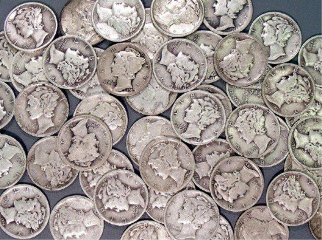 9S: Lot of 50 Mercury Dimes