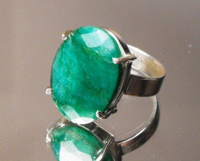 1W: 8.35 ct Emerald Ring in Sterling $ 2774 GG GIA