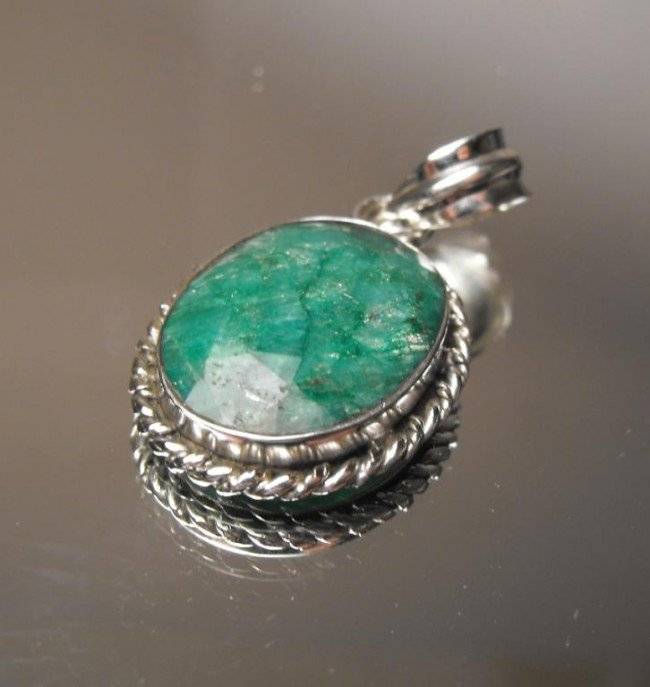 9W: 12.68 ct Emerald Pendant Sterling $ 2900 GG GIA