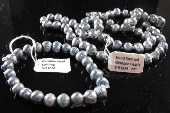 1B: Natural Grey Pearl Necklace / Bracelet Set