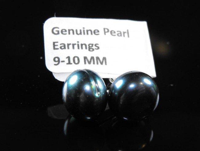 3A: Black Tahitian Baroque Earrings 8-9mm