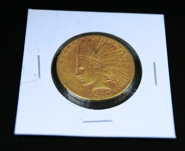 2A: 1910 XF Plus Grade $10 Indian Head Gold Coin