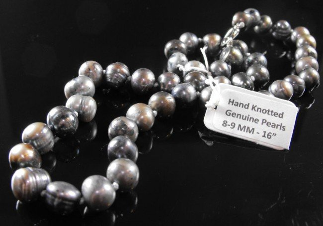 "1A: Black Tahitian Pearl Necklace 16""  8-9mm"