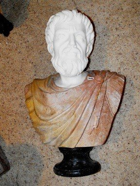 2C: Hand Carved Greek Marble & Alabaster Bust