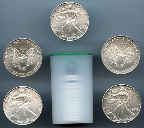3A: Lot of (100) Silver Eagle Bullion 1 oz