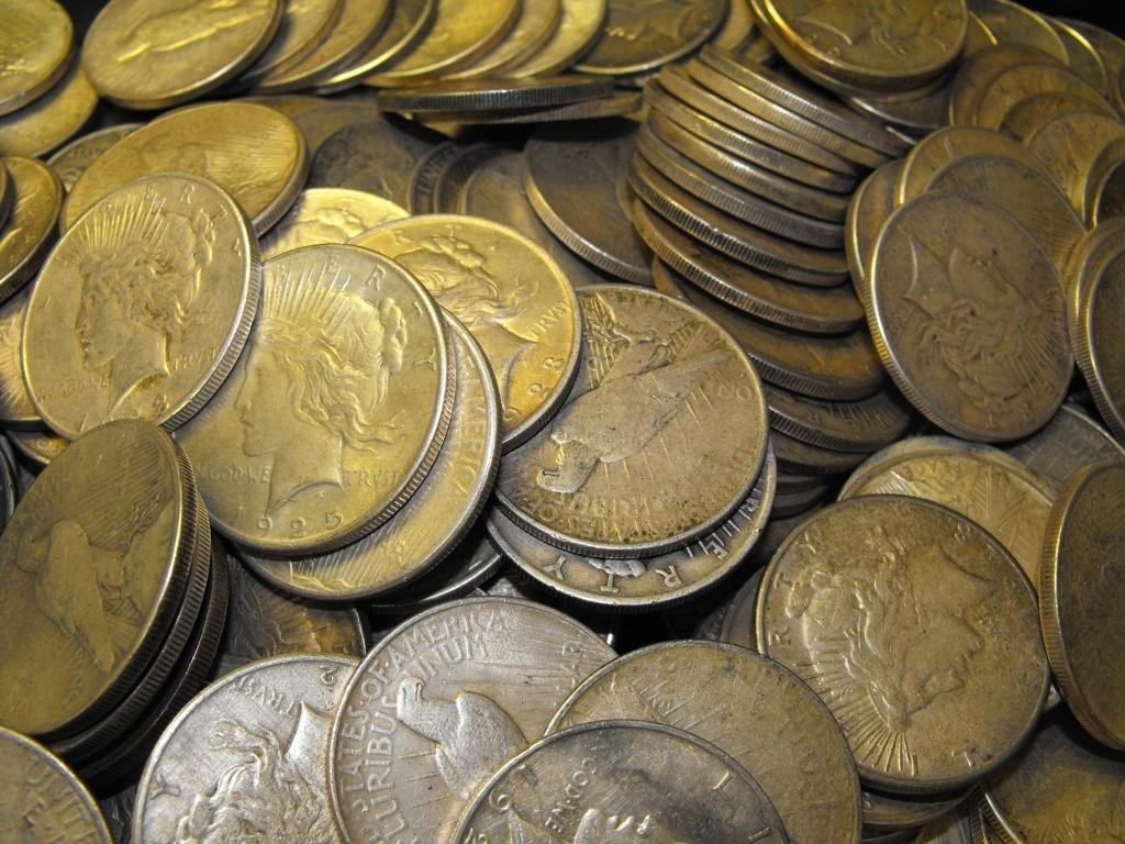7C: Lot of 100 Peace Dollars Circulated