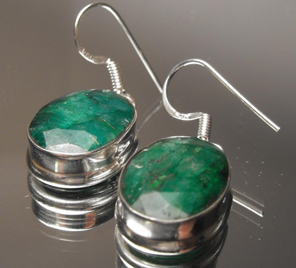 5W: 15.64 ct. Emerald Earrings Sterling $3590 GG GIA