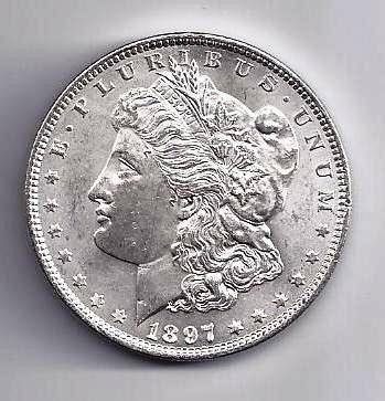 5: 1897 P Morgan Silver Dollar BU