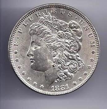 8: 1881 p Morgan Silver Dollar AU