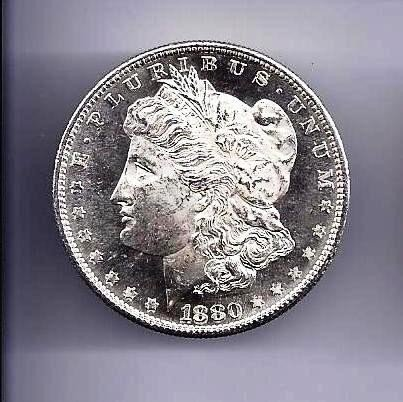 12: 1880 S Morgan Silver Dollar PL -RV-OB