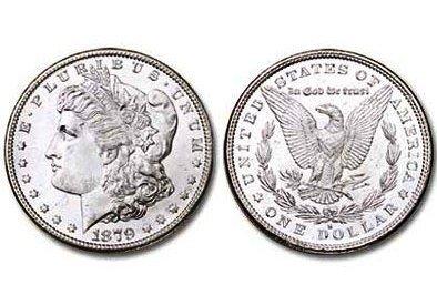 1A: 1879 S Bright Shiny Morgan Silver Dollar