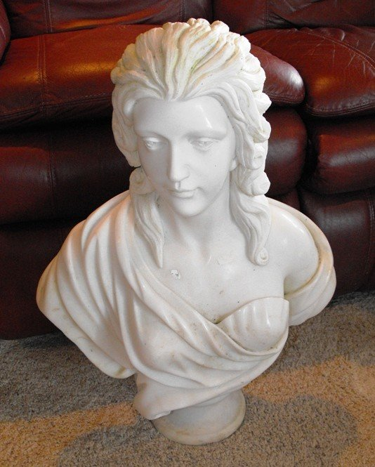 2A: Solid Marble Hand Carved Greek Bust