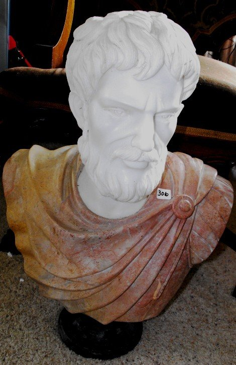 5A: Fine Hand Carved Male Marble Bust w/ Alabaster