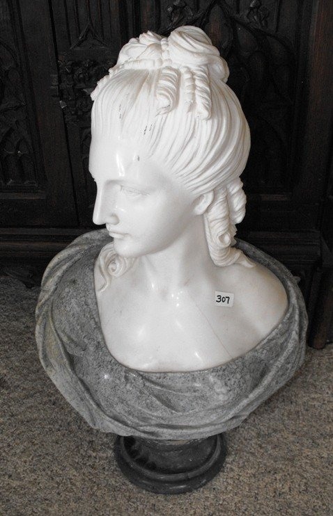 7A: Excellent Hand Carved Solid Marble Bust Female