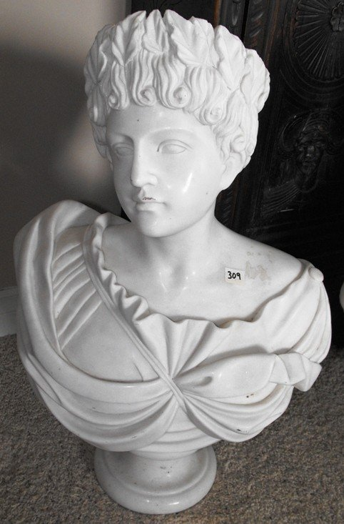 9A: Fine White Marble Classical Bust Female