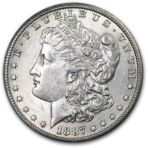 4: 1887 P Morgan SIlver Dollar - UNC