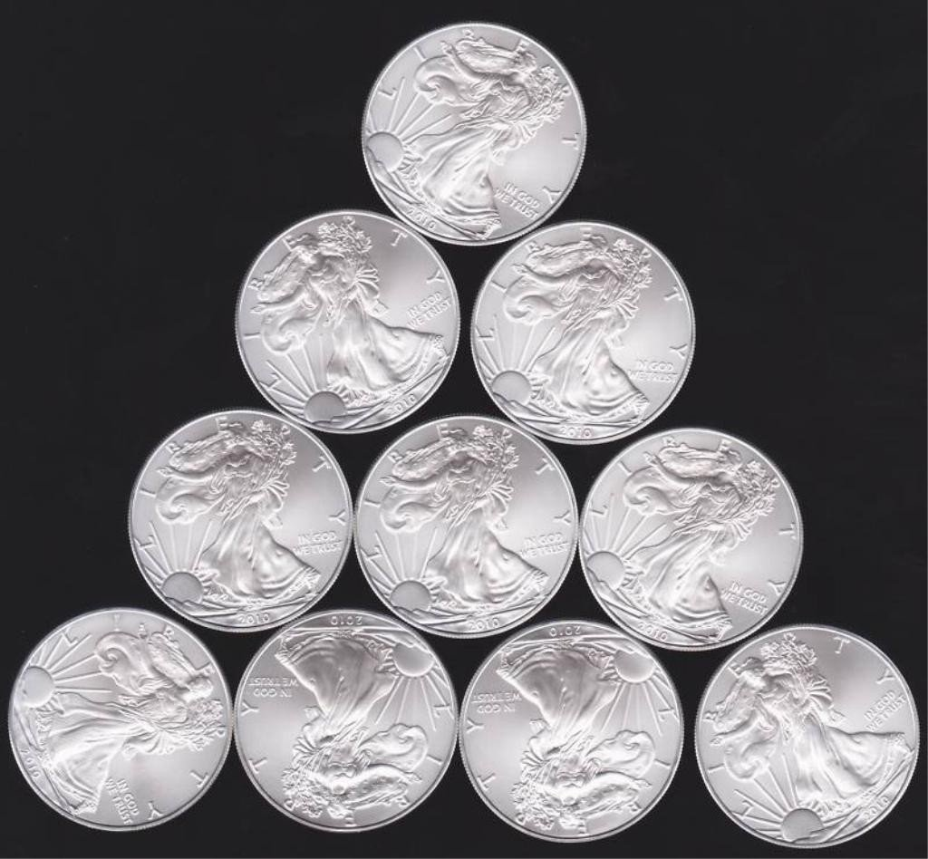 7: Lot of 10 Silver Eagle from Cache