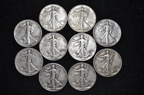 8: Lot of 10 Walking Liberty Halves- Mixed Dates-