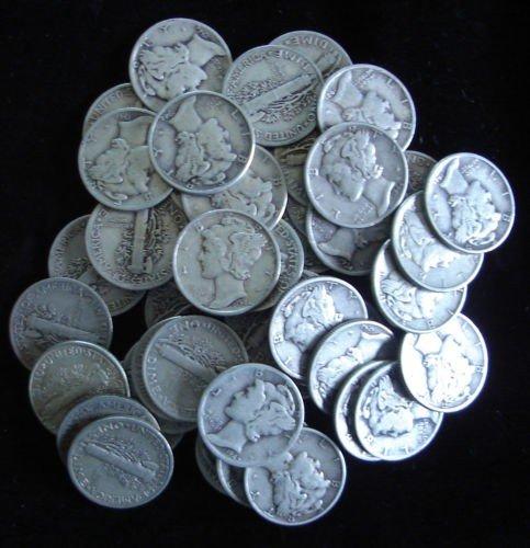 10: Roll of Mercury Dimes g-xf grades- 50 Coins
