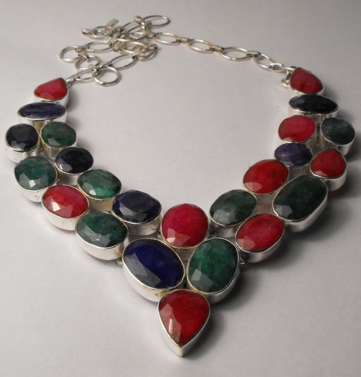 219W: STAR LOT-109 tcw Emerald-Ruby-Sapphire Necklace