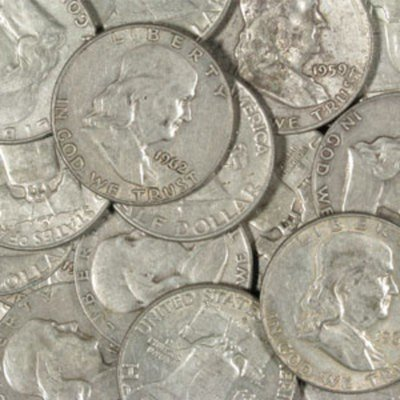 4C: Lot of (10) Franklin Half Dollars 90% Silver